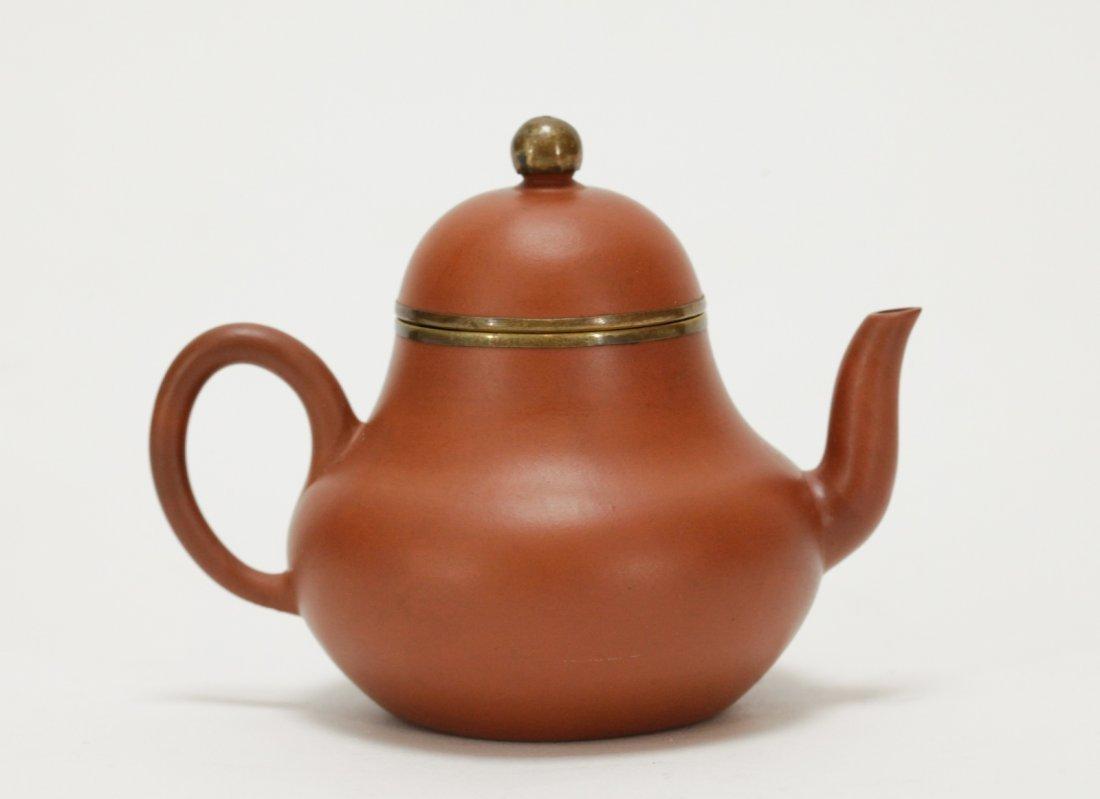 Chinese Yixing Zisha Teapot, Marked on Handle - 3