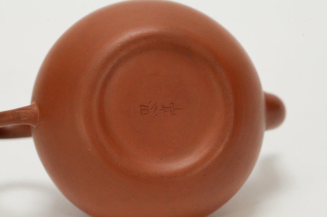 Chinese Yixing Zisha Teapot, Marked on Handle - 8