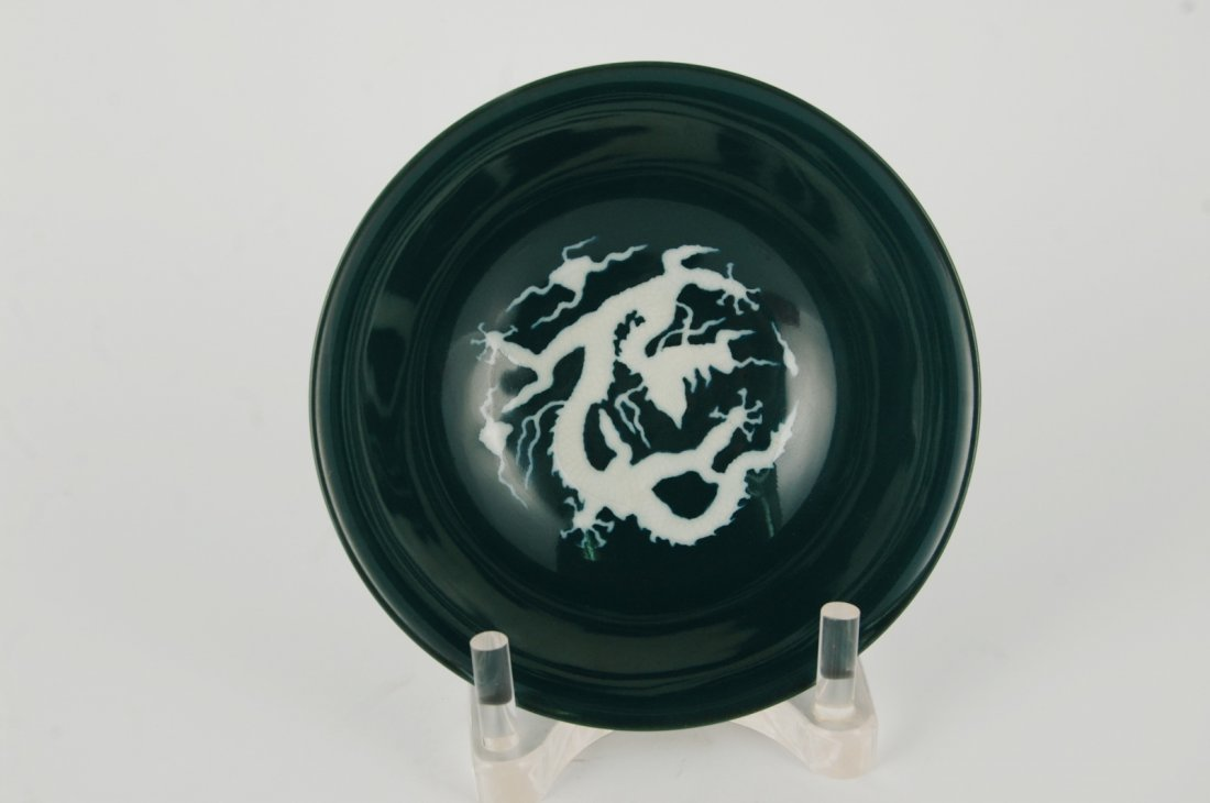 Chinese Green Glazed Porcelain Plate, Marked