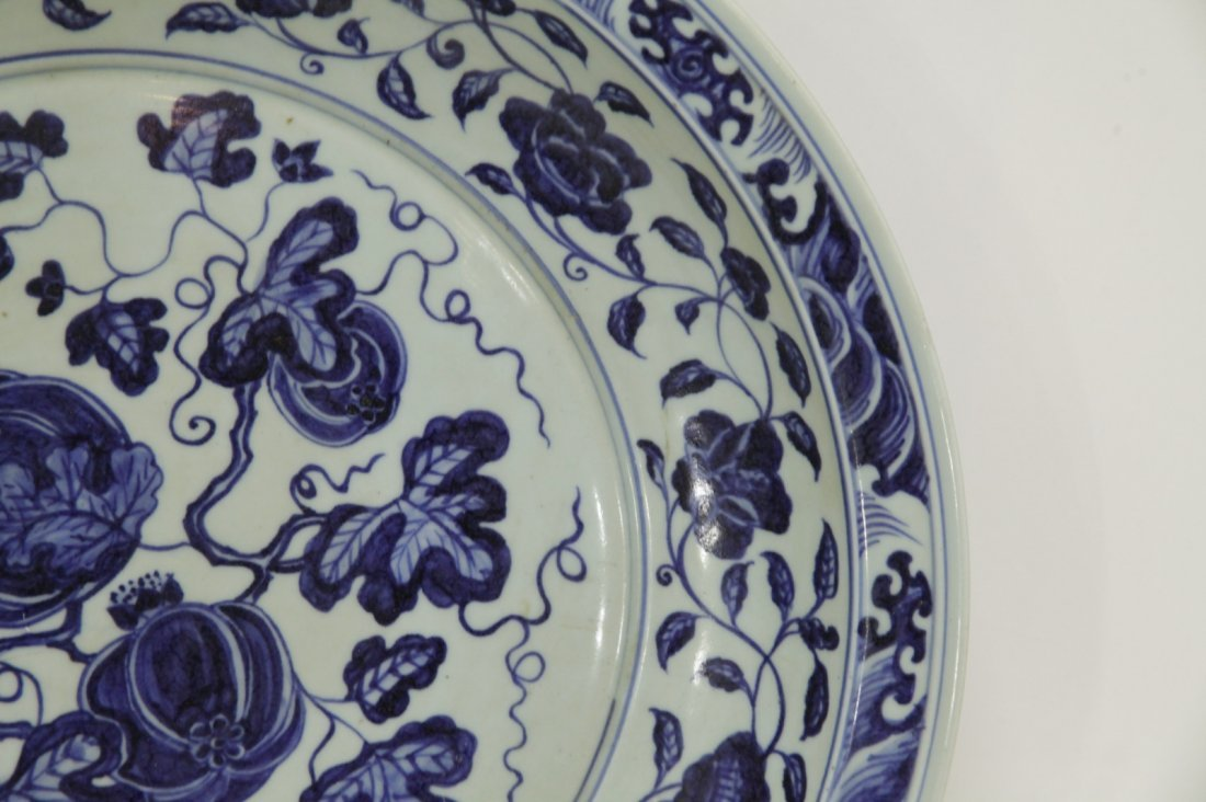 Chinese Blue/White Porcelain Charger - 3