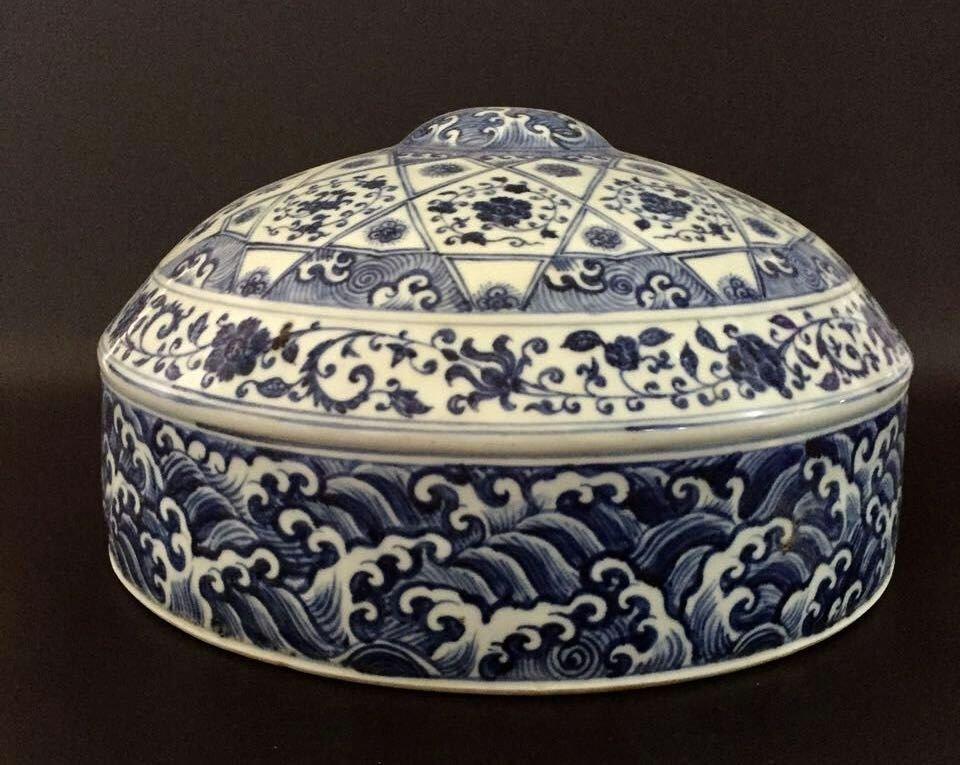 Chinese Blue/White Porcelain Round Flat Vase - 3