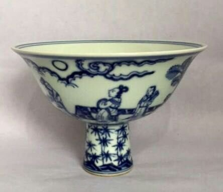 Chinese Blue/White Porcelain High Foot Cup, Marked - 2