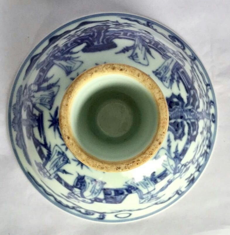 Chinese Blue/White Porcelain High Foot Cup, Marked - 3
