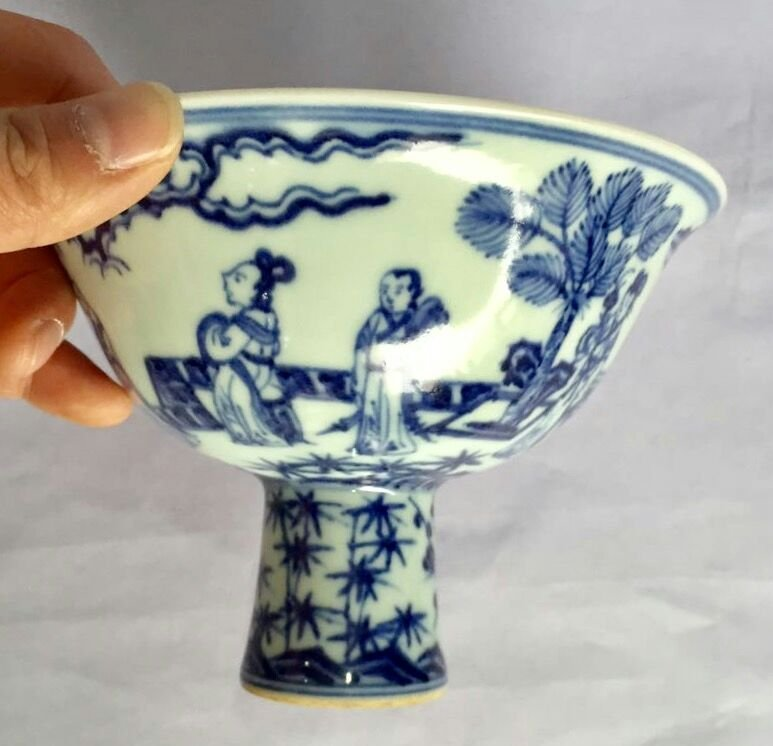 Chinese Blue/White Porcelain High Foot Cup, Marked - 4