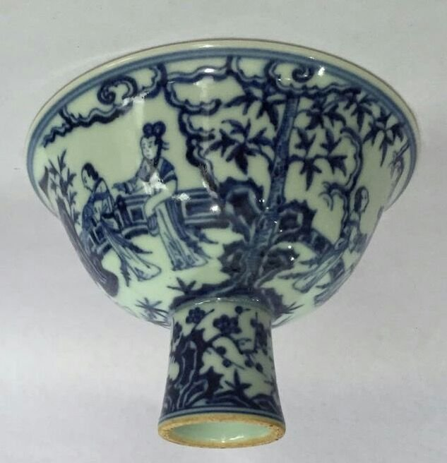 Chinese Blue/White Porcelain High Foot Cup, Marked - 6