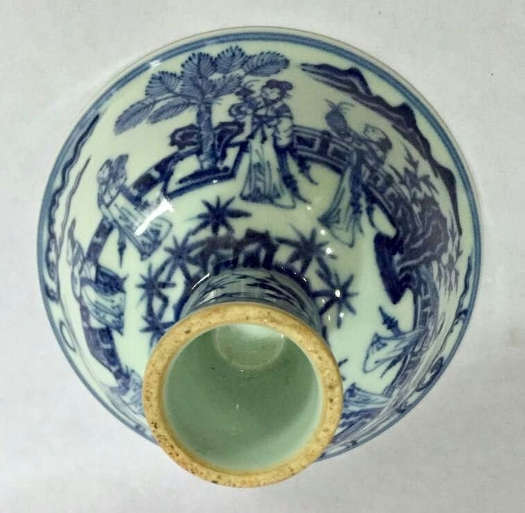 Chinese Blue/White Porcelain High Foot Cup, Marked - 8