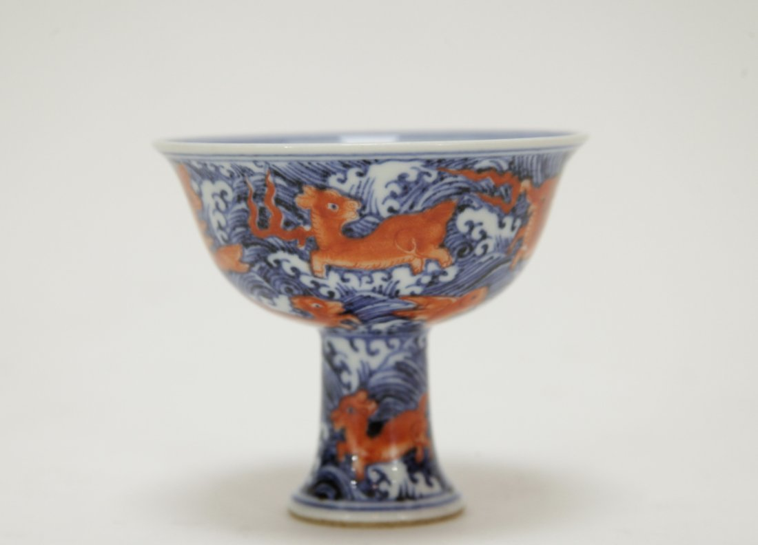 Chinese Blue/White Iron Red Porcelain Cup - 3