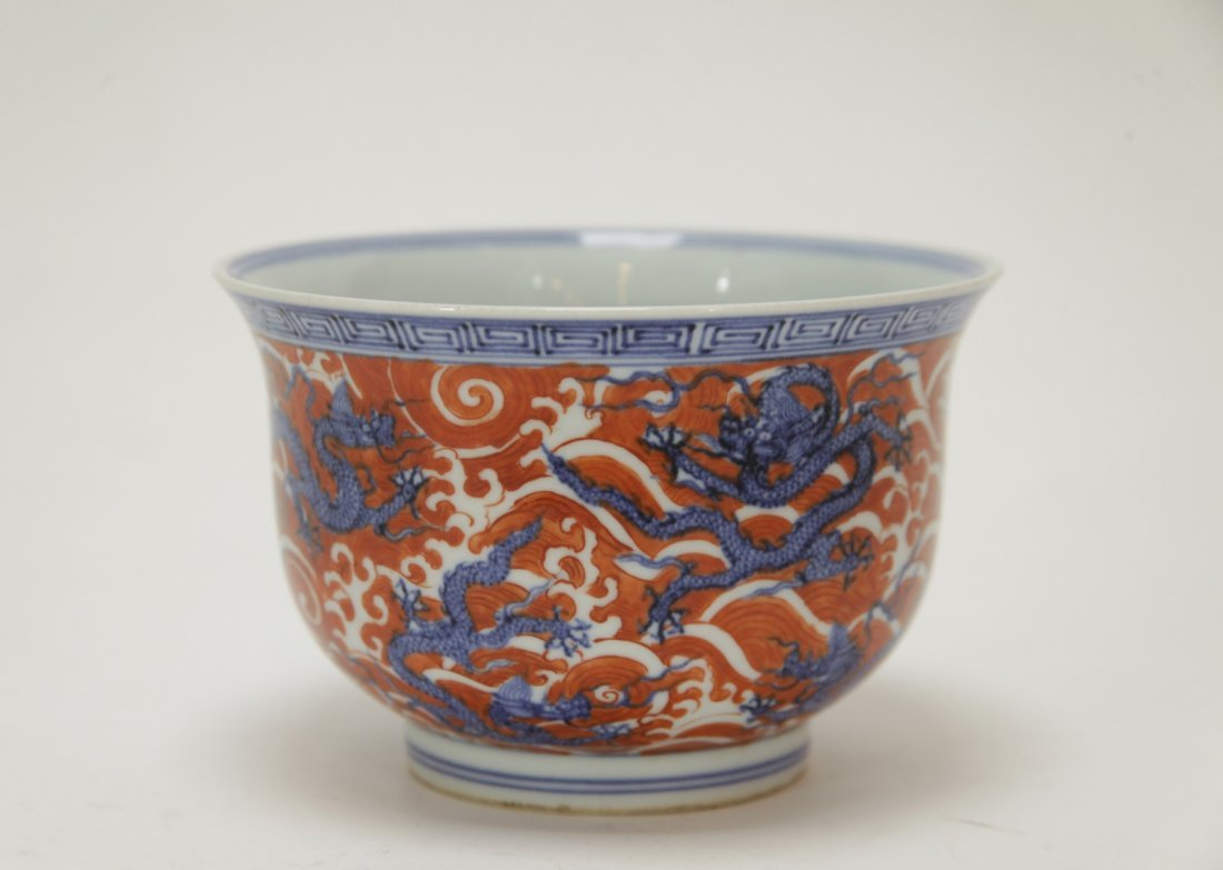 Chinese Blue/White Iron Red Porcelain Bowl, Marked - 5
