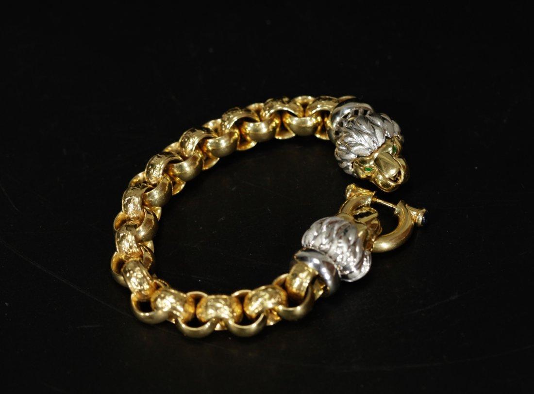 18K Gold & Platinum Designed Bracelet w/ Lion Head