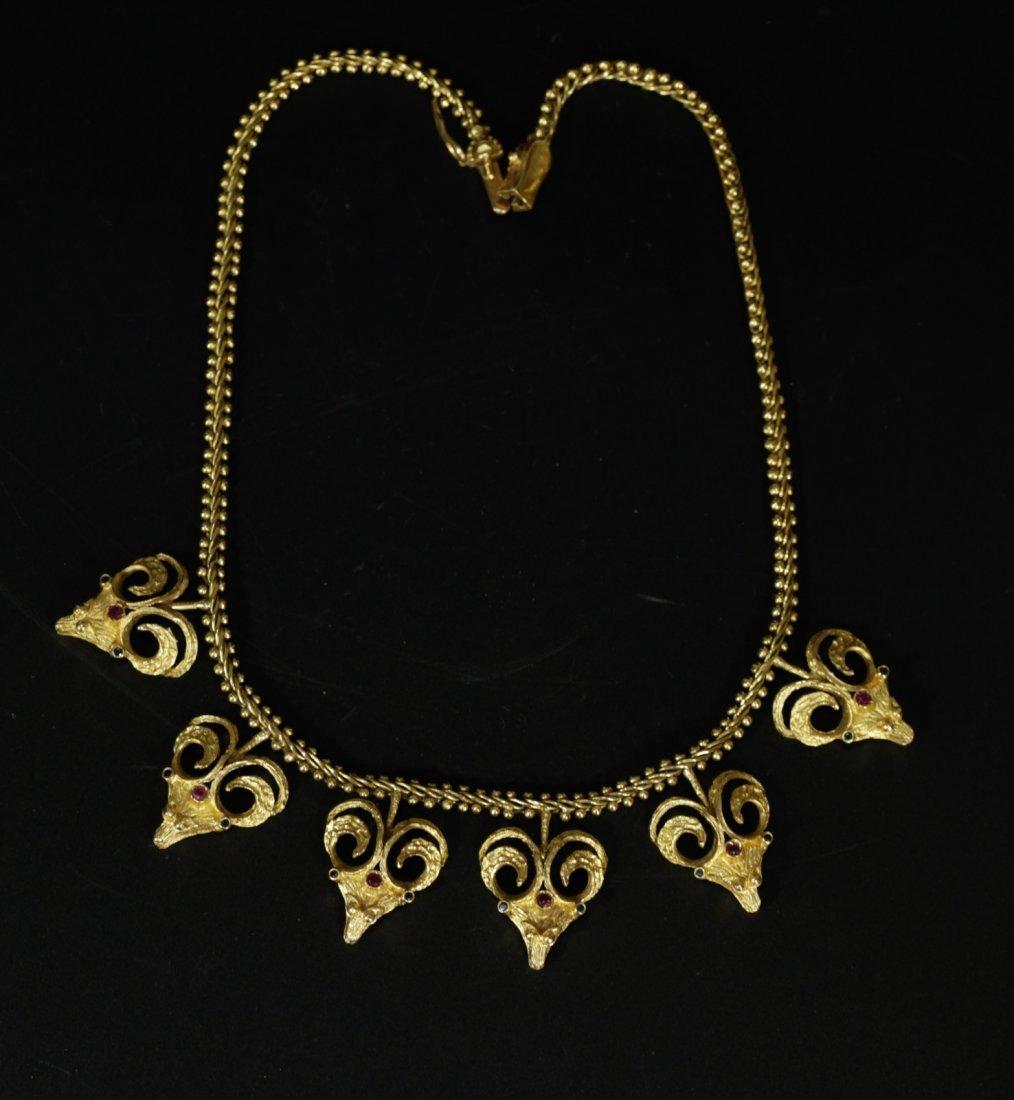 18K Necklace w/ Six Lamb heads, Gemstone Inlaid
