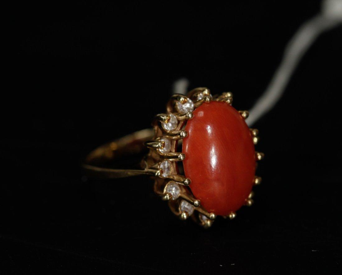 18K Gold Coral Egg Shaped Ring