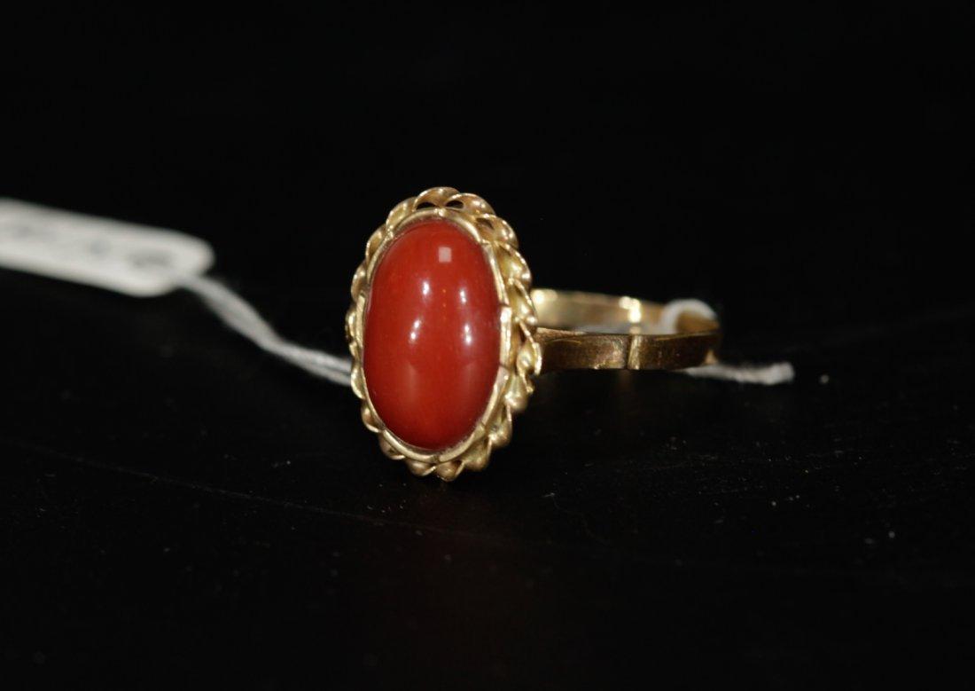 18K Gold Aka Coral Egg Shaped Ring