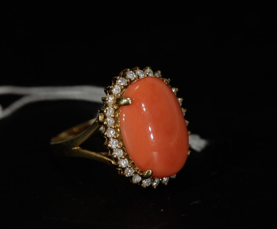 18K Gold Momo Coral Egg Shaped Ring w/ Diamond