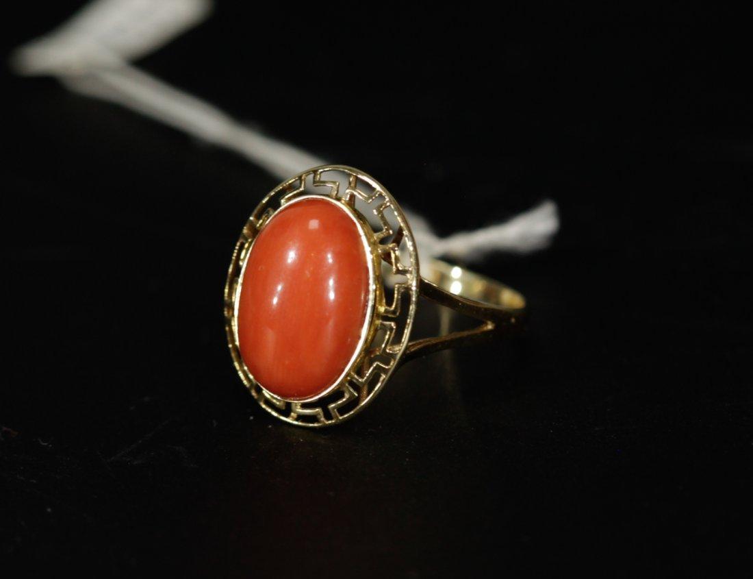 18K Gold Sardinia Coral Egg Shaped Ring