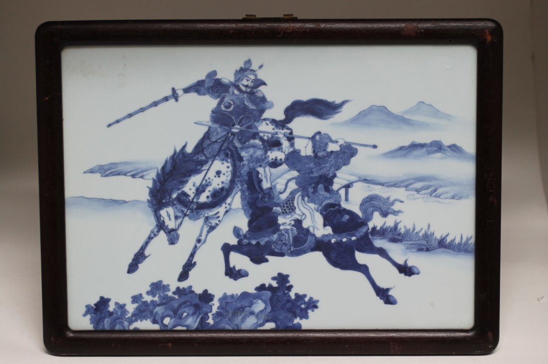 Pair of Chinese Blue/White Porcelain Plaque