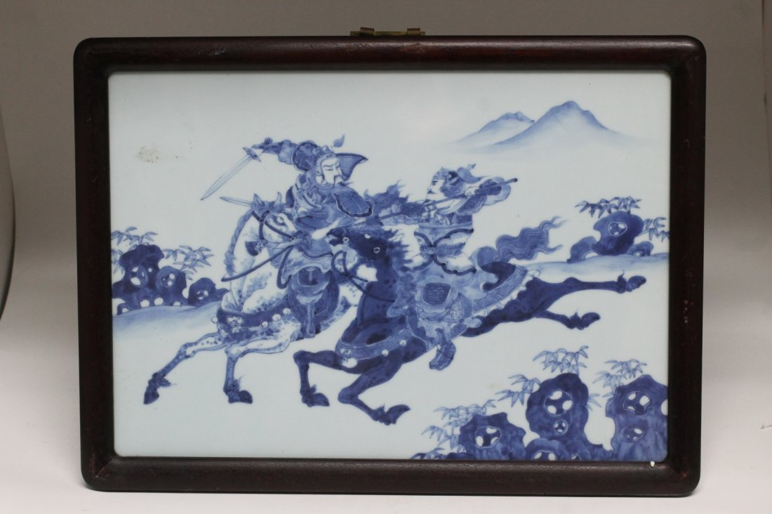 Pair of Chinese Blue/White Porcelain Plaque - 4