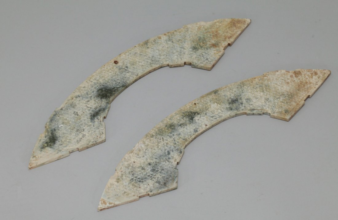 A Large Pair of Partially Calcified Jade Huang - 4