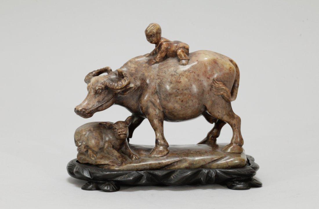Chinese Soapstone Carved Buffalo w/ Boy