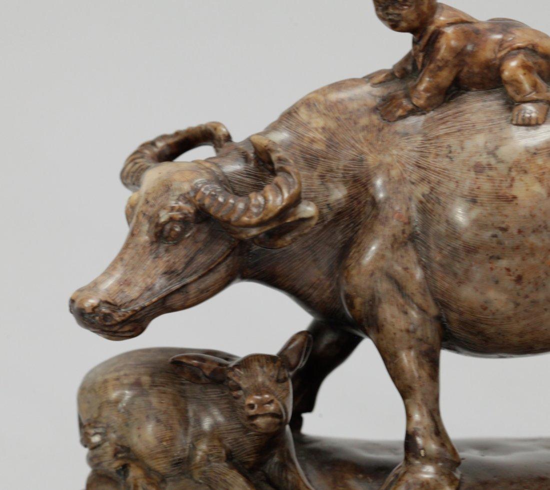 Chinese Soapstone Carved Buffalo w/ Boy - 2