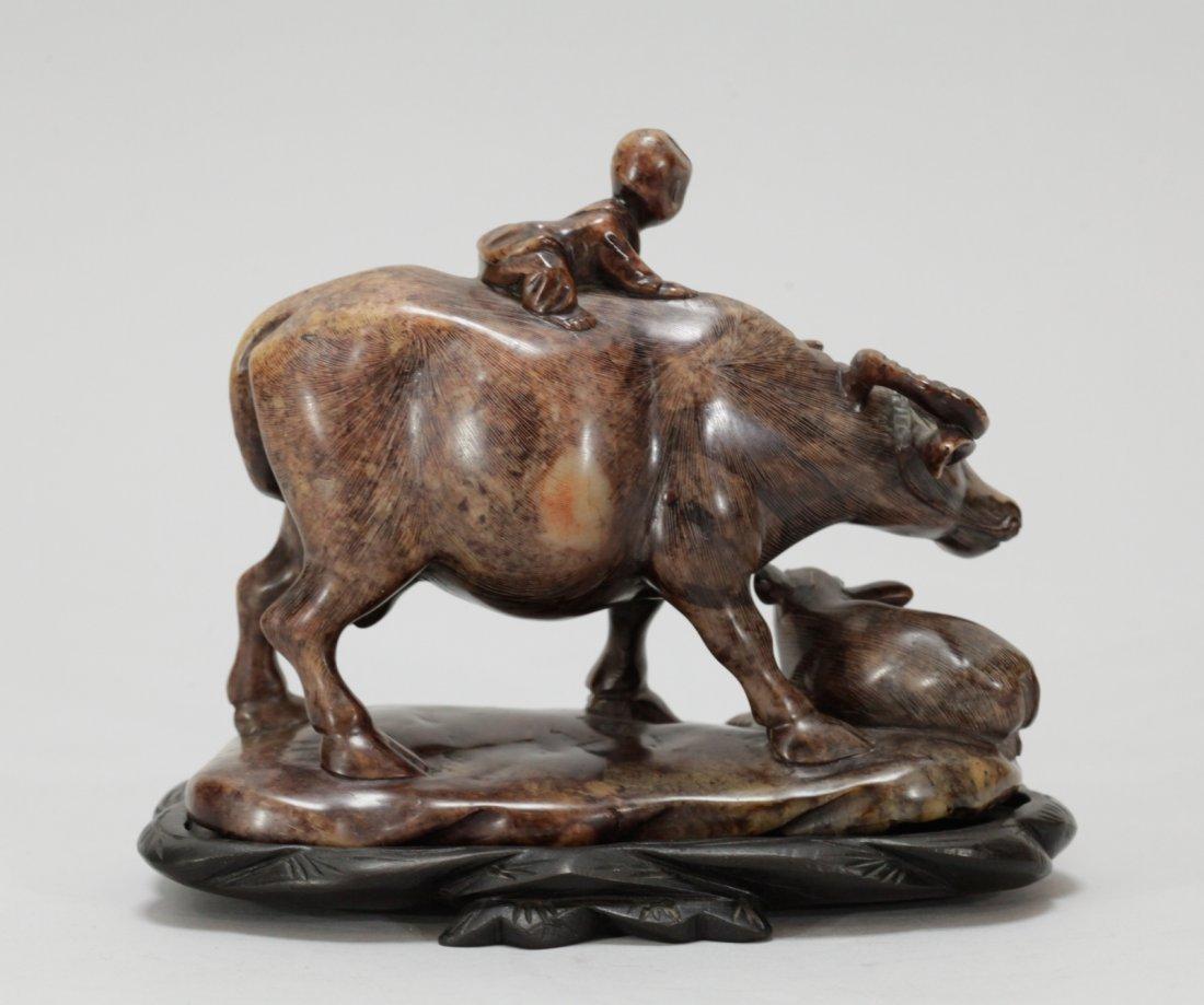 Chinese Soapstone Carved Buffalo w/ Boy - 7
