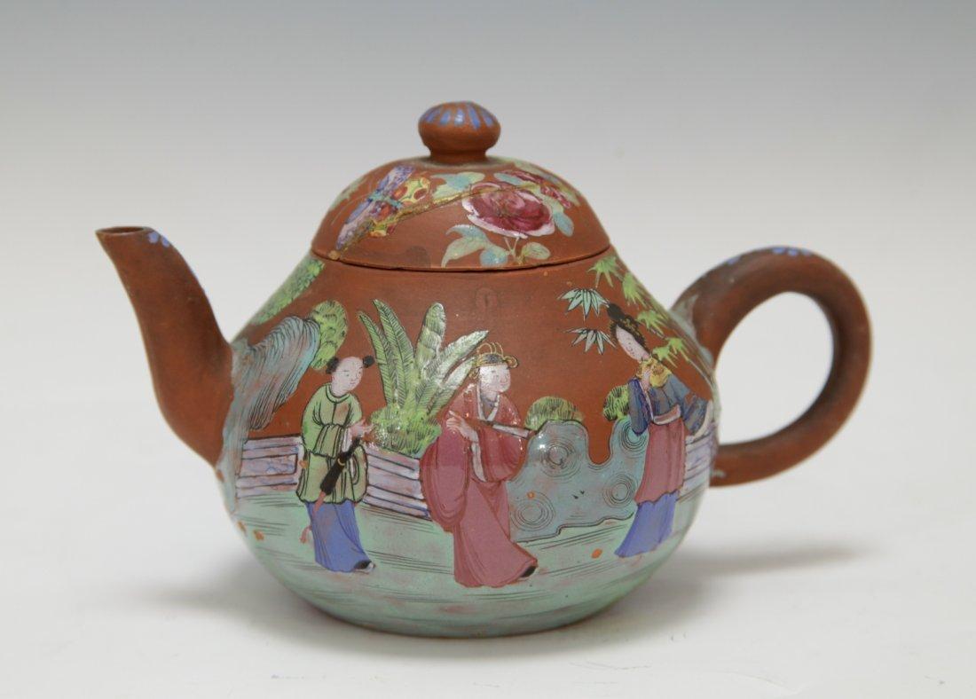 Chinese Yixing Zisha Teapot w/ Enamel, 19th C.