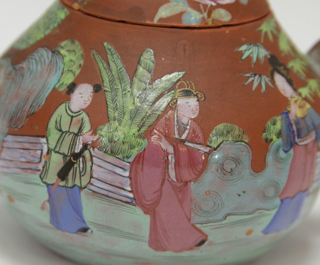 Chinese Yixing Zisha Teapot w/ Enamel, 19th C. - 2