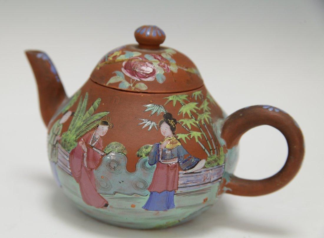 Chinese Yixing Zisha Teapot w/ Enamel, 19th C. - 3