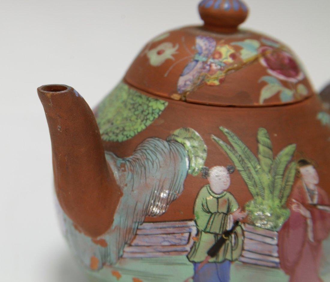 Chinese Yixing Zisha Teapot w/ Enamel, 19th C. - 4