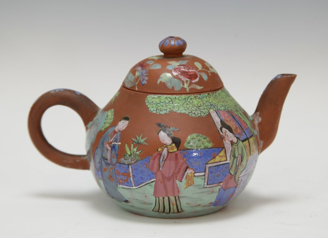Chinese Yixing Zisha Teapot w/ Enamel, 19th C. - 6
