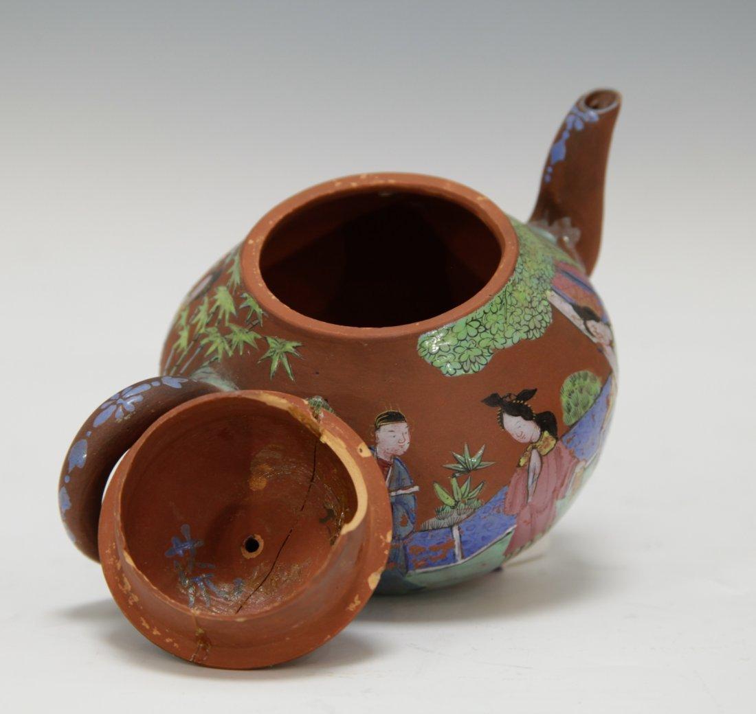 Chinese Yixing Zisha Teapot w/ Enamel, 19th C. - 7