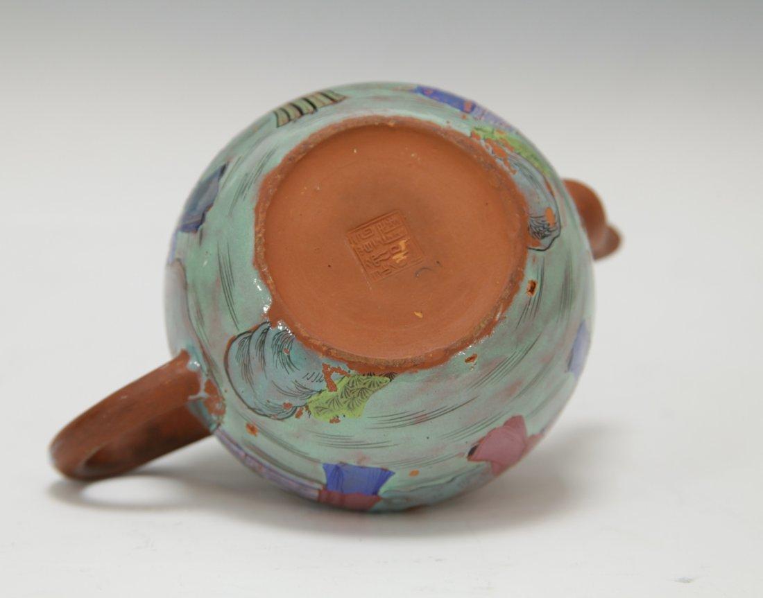 Chinese Yixing Zisha Teapot w/ Enamel, 19th C. - 8