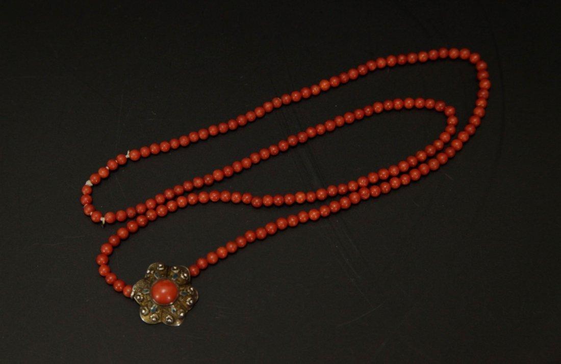 Coral Necklace Aka w/ Silver Coral Drop