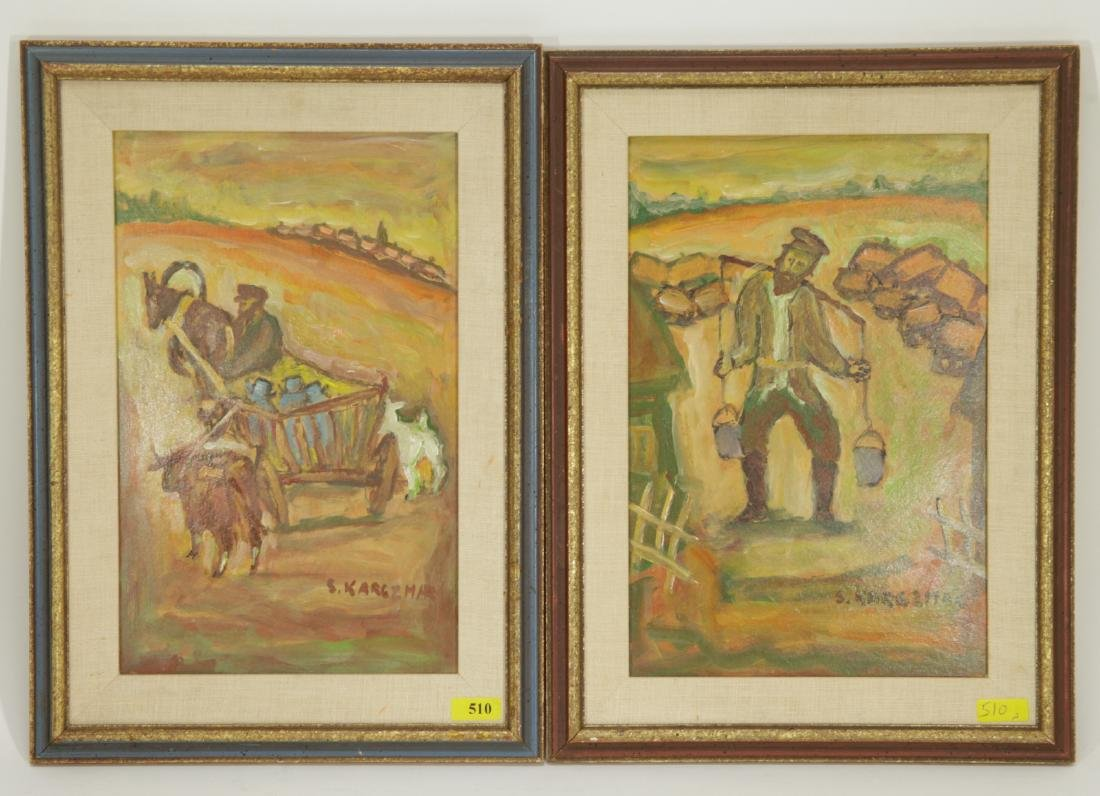 Pair of Jewish Paintings, Oil on Cardboard