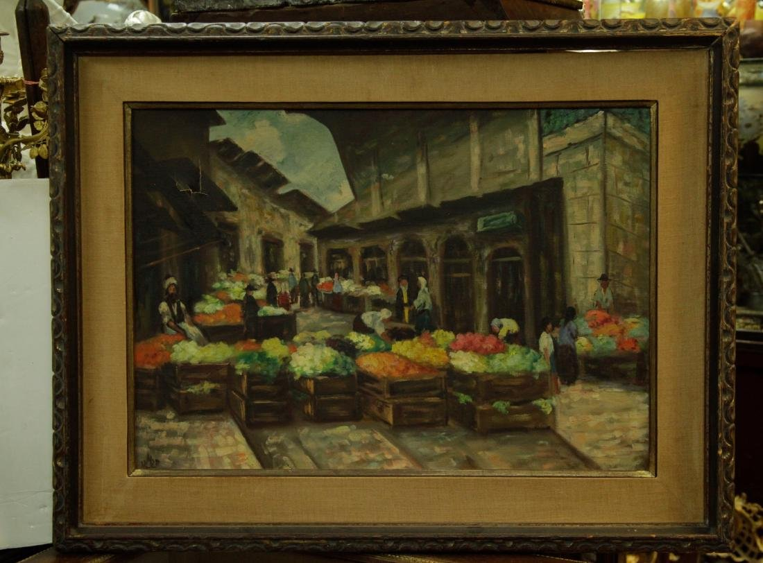 O/C Jewish Fruit Market, Signed