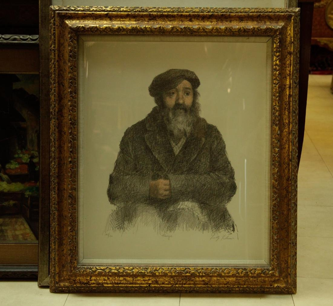 Lithograph of a Rabbi by Tully Filmus