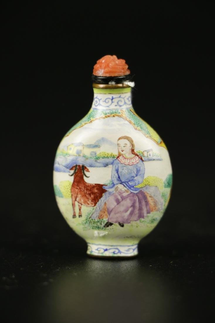 18th C. Qing Long Period Enamel Bronze Snuff Bottl