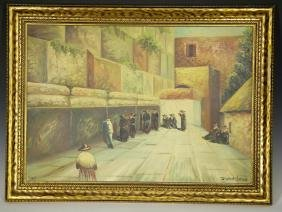 """Kovach"" Old Painting of Jews at Wailing Wakk in J"