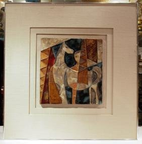 "Pottery Tile Painting, Signed ""J.RUTH"""