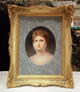 K.P.M. Plaque w/ Gilt Wood Frame, Marked