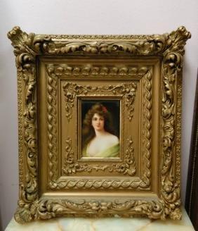 European Porcelain Plaque w/ Gilt Frame
