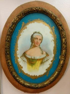 European Porcelain Plaque w/ Frame