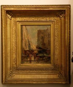 Oil Painting on Canvas w/ Gilt Wood Frame