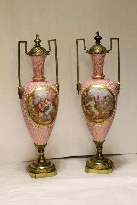 Pair of Porcelain Urn w/ Gilt Bronze Cover & Base