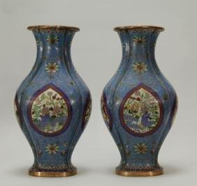 Pair of Chinese Enamel Bronze Vases