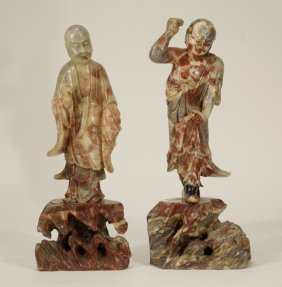 Pair of Chinese Soapstone Carved Lohans