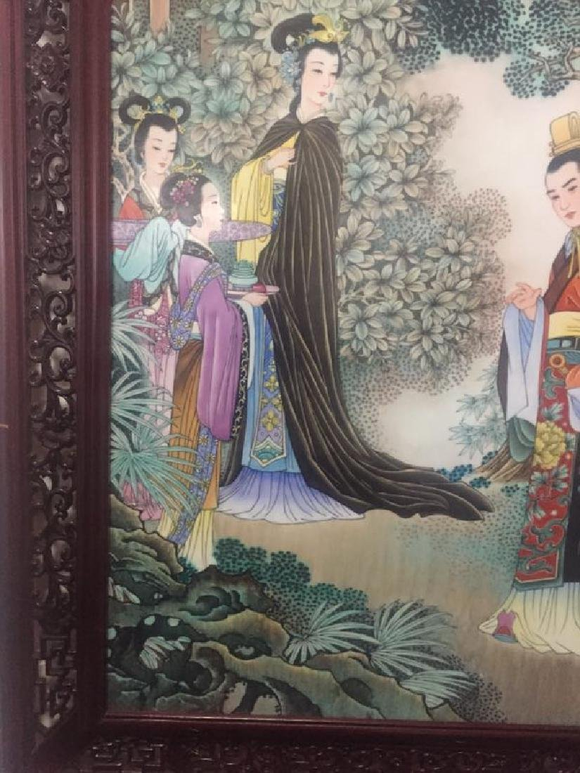 Chinese Famille Rose Porcelain Plaque w/ Frame - 2