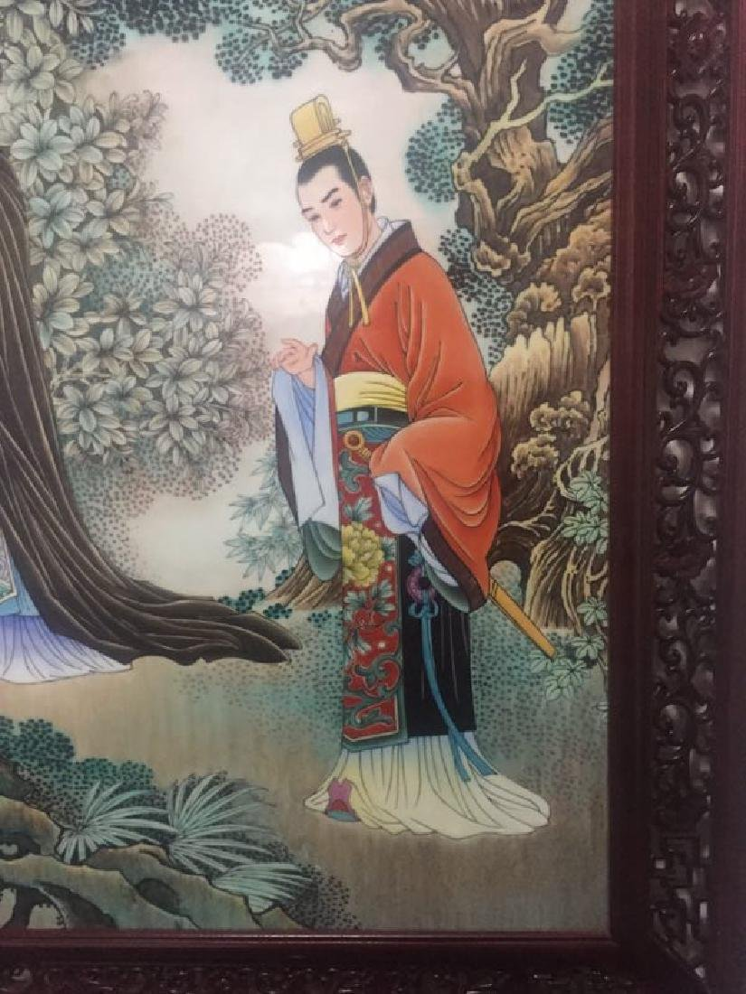 Chinese Famille Rose Porcelain Plaque w/ Frame - 3