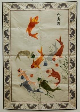 Chinese Silk Painting of Fish