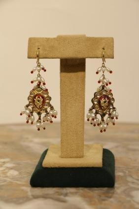 19th C. Mughal Style Indian Earrings, 24K Gold & R