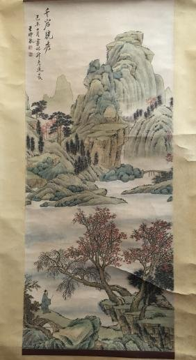 Chinese water color Landscape scroll painting